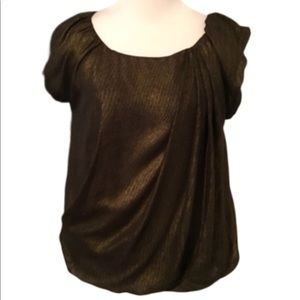 Max Studio Gold & Black Puffed Cap Sleeves Top XS